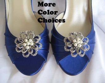 Blue Bridal Shoes with Crystal Brooch Bridesmaids Blue Wedding Shoes Over 100 Custom Color Choices
