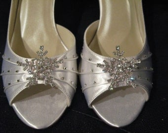 Winter Wedding Bridal Shoes with Crystal Snowflake Wedding Shoes Over 100 Custom Color Choices