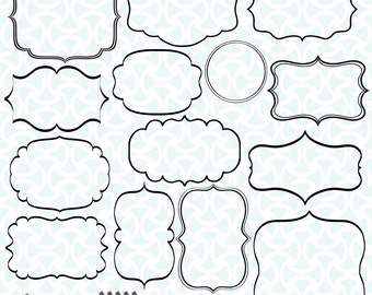 Digital Frames Clip Art Transparent Teacher Commercial Use 14 Border DIY Invitation Calligraphy Clipart Logo Design Instant Download