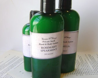 Rosemary Spearmint Private Stock Lotion, 4 or 8 oz. Bottle for Dry Skin, Feet, Elbows, Winter Skin