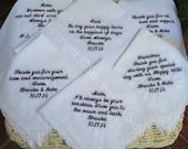 Set Of 6 Custom Embroidery Wedding Handkerchief