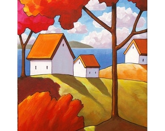 PAINTING ORIGINAL by Cathy Horvath - Folk Art Fall Red Trees White Ocean Cottages Abstract Autumn Landscape Acrylic on Canvas Artwork 11x14