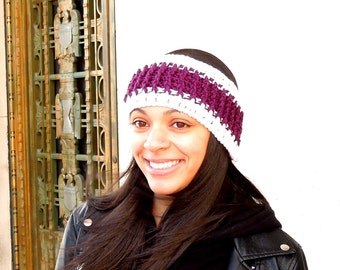 Sale, Crochet Headband, Ear Warmer, Ribbed Style, Grape White, Women,Teen, Ready To Ship,