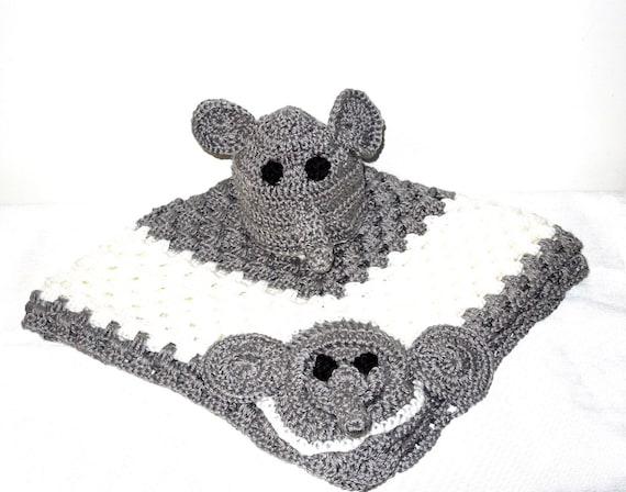 Crochet Baby Blanket and Hat Set, Newborn, Elephant, Gray, White, Baby Shower Gift