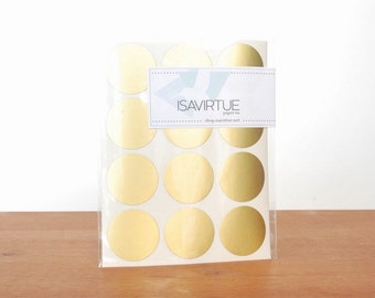 gold circle labels: circle seals, gold stickers, round labels, envelope seals set of 48