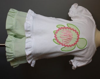 GIrls green seersucker ruffled turtle tee and matching short set by Gigi Babies, monogram
