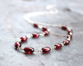 Garnet Necklace Oval Red Gemstone Strand Sterling Silver Faceted Beaded Chain