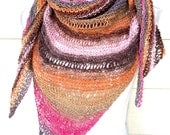 Sunset Striped Shawl Triangle Scarf Multicolor Bright Wrap Prayer Shawl Free Shipping Christmas Gift