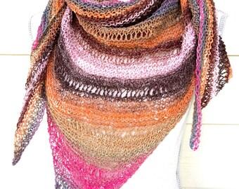 Sunset Striped Shawl Spring Wrap Triangle Scarf Multicolor Prayer Shawl Free Shipping