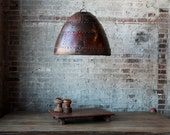 SALE Large Industrial Rustic Hanging Rusted Riveted Reclaimed Iron Light Fixture Pendant Light Lamp Shade