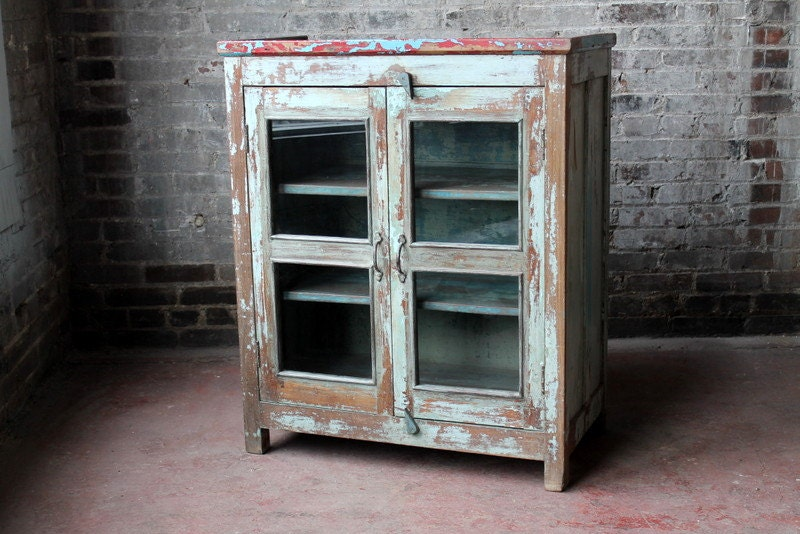 Reclaimed cabinet vintage red blue turquoise cabinet for Blue distressed kitchen cabinets