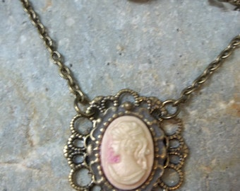 Pink Cameo Necklace on Antiqued Bronze Gold Filigree