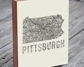 Pittsburgh - Pittsburgh Art - Pittsburgh Map - Pittsburgh Wall Art - Wood Block Art Print