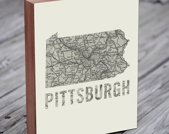 Pittsburgh - Pittsburgh Art - Pittsburgh Map - Pittsburgh Wall Art - Wood Block Art Print