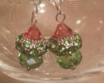 Crystal European Earrings,  Rhinestone With Swarovski Beads, Dangle Style