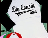 Big Cousin In Training Raglan Shirt Swoosh design with Year 2016 2017 2018 2019 Announcement Family TShirt long sleeve I'm going to be a