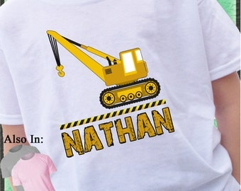 Heavy Duty Construction Crane Shirt Personalized with Name Construction zone customized tshirt mud dirt