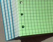 Squared Notepaper inserts - Fits Filofax or Organiser - blue and green - A5/personal/pocket/mini