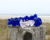 Cobalt Blue Sea Glass Pale Pink Mix  Bracelet Beach Style Boho Chic Summer Bangle in by Wave of Life