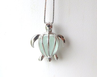 Sea Turtle Necklace Sea Glass Pale Aqua Sterling Silver Honu by Wave of LIfe™