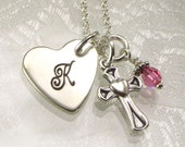 Monogrammed Heart Necklace with Cross Charm - Initial Charm - Great for Confirmation Gift, First Communion, Baptism, Flower Girls, Birthdays