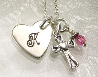 Monogrammed Heart Necklace with Cross Charm - Initial Charm - Great for Confirmation Gift, First Communion, Baptism, Flower Girls, Valentine