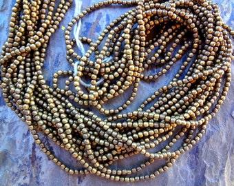Round Brass Bead, 2mm, African Brass, Trade Beads, Antique Brass, 25 Inch, Priced per Strand