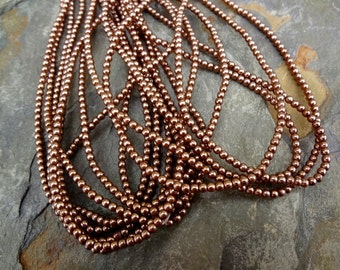 2mm Glass Pearls, Czech Glass Pearls, Brass or Light Bronze