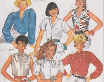 Blouse Pattern 1980s Pleated Top Shirt Button  Misses Size 14 Uncut McCalls 2231