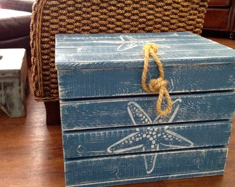 Crab Crate Side Table Treasure Chest Trunk Starfish Scallop by CastawaysHall Beach House Decor