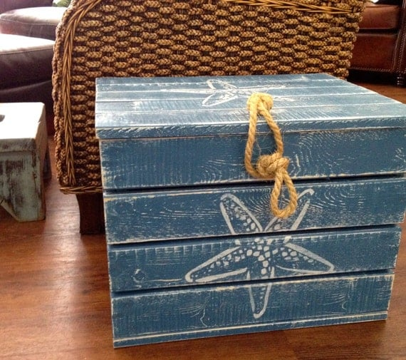 Crate Side Table Treasure Chest Trunk | Handmade Decor Ideas For Decorating A Beach House