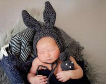 Baby Bunny Bonnet and Small Bunny Toy- photo prop, rabbit, hat, prop, stuffie