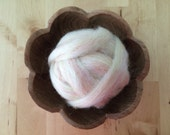 Wool roving supply for needle felting, Rainbow Opal White, 1 ounce, craft supply for wool felt, needle felt DIY, DIY felting, white roving