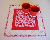 Quilted Table Topper Valentines Day, Valentine Quilted Table Runner, Table Quilt, Mini Quilt, Quilted Table Topper Hearts, Polka Dots