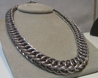 """20"""" Half-Persian Chainmaille Necklace to make your outfit Pop! Chainmail Half Persian necklace for Women or Men. Wear Your Maille!"""