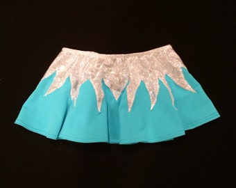 New Frozen Blue Full Circle Skirt Shiny White Hologram Design Match any leotard