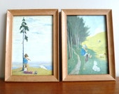 "50s Framed Wall Art - Set of 2 - Alpine Children - Boy w/ Flute - Girl w/ Braids - Dog Goats Mountain Scene - 6.5"" x 4.75"" - Vintage 1950s"