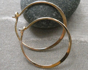 1 Inch 14K Solid Gold 18 gauge  Hammered Endless Hoops Bright Finished Medium Sized Hoops