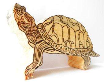Wood Turtle, Wooden Turtle, Turtle Sculpture, Handmade Turtle, Box Turtle, Turtle Figurine, Reptile, Woodland, Woodcraft, Handmade Woodwork