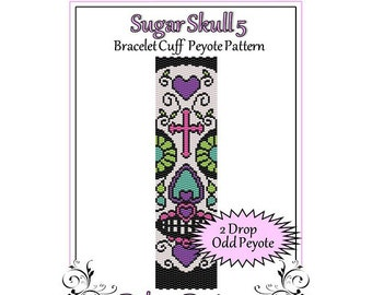 Bead Pattern Peyote(Bracelet Cuff)-Sugar Skull 5
