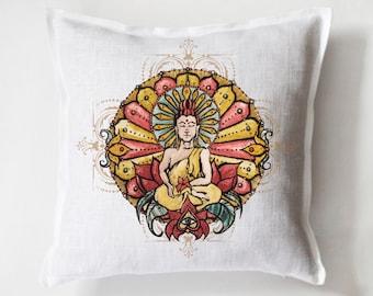 Buddha Design Linen Pillowcase