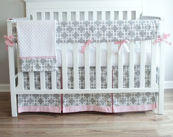 Bumperless Gray & Pink Gotcha Crib Rail Bedding set.