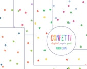 Confetti digital paper pack 12x12 inch background circles stars heart blue pink green scrapbooking clip art clipart png jpg
