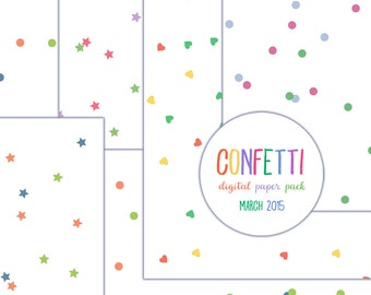 Confetti digital paper pack 12x12 inch background circles stars heart blue pink green scrapbooking clip art clipart png jpg