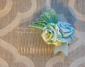Ribbon Rose Hair Comb - Light Blue Mint Green
