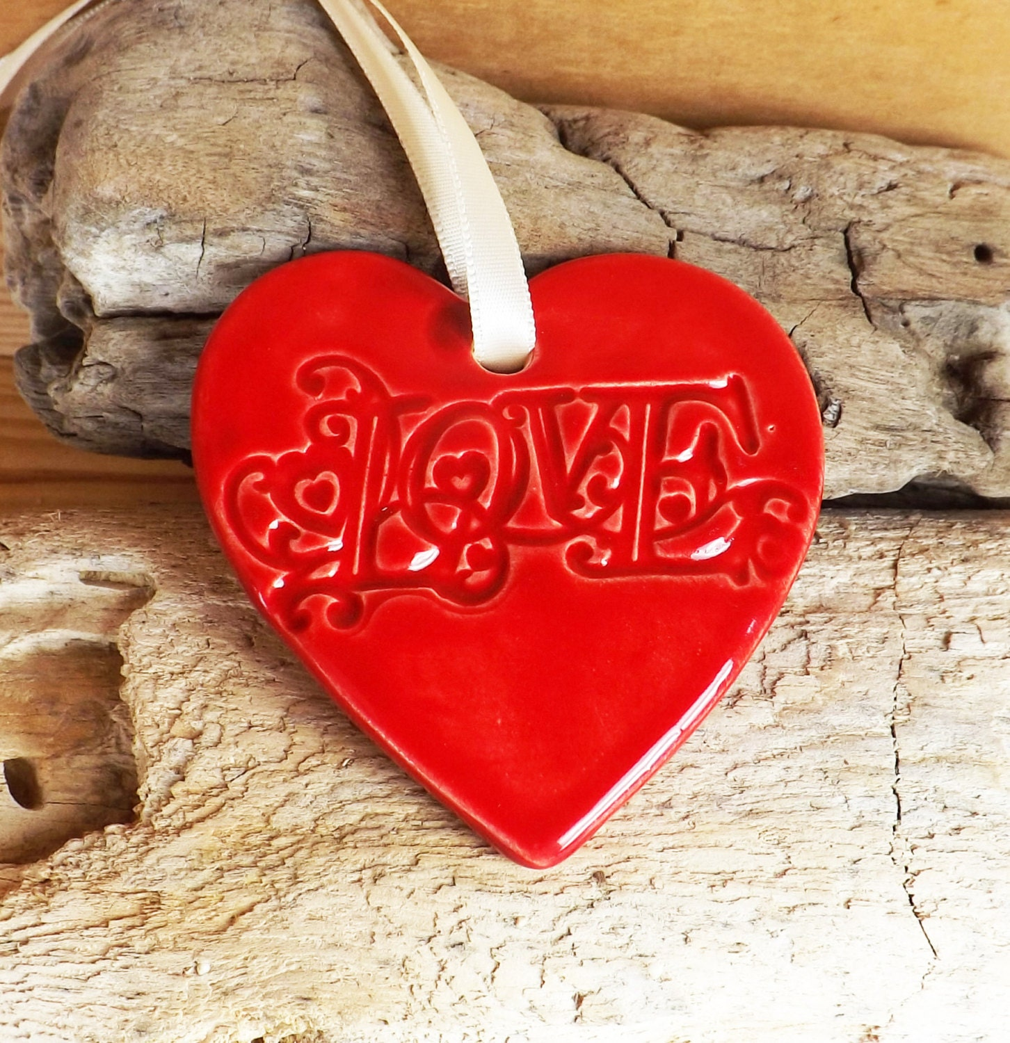 Christmas Ornament Heart Ornament Wedding Favor By TropicalEarth