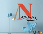 Baseball monogram decal - Personalized - Vinyl Wall Decal Sticker for Nursery and children's rooms