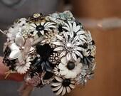 Custom Brooch Bouquet | Black & White Bridal Bouquet | Silver | Handmade Medium Modern Domed Jewelry Bouquet | Neutral Classic Colors