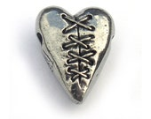 Laced Heart Pewter Bead Green Girl Studios