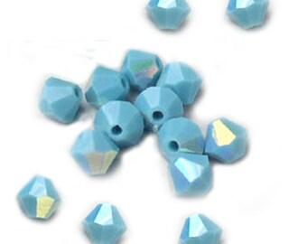 Swarovski Crystal Beads Turquoise Bicones AB 4mm (24)